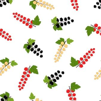 Ribes nero, rosso e bianco con motivo senza cuciture di foglie verdi su sfondo bianco