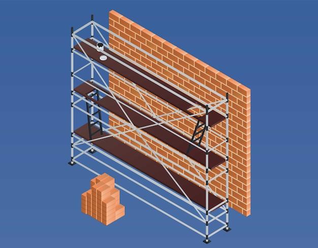 Illustrazione del muro di mattoni dell'impalcatura, stile isometrico