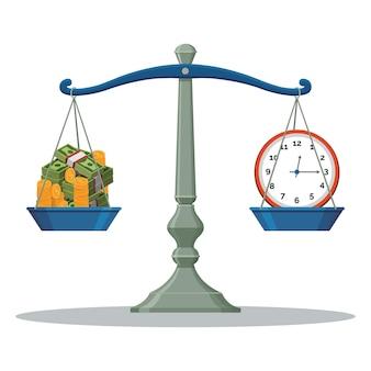 Illustrazione di tempo e denaro del peso dell'equilibrio della scala