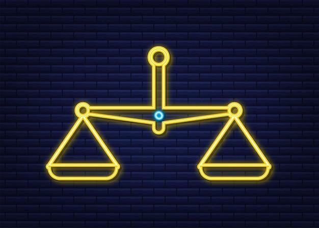 Icona di scale. icona al neon. bilancia isolata. illustrazione di riserva di vettore.