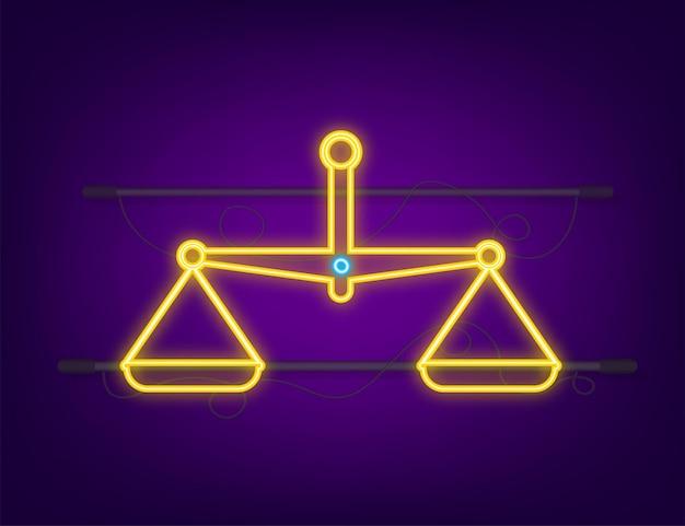 Icona di scale. icona al neon. bilancia isolato su sfondo bianco. illustrazione vettoriale.