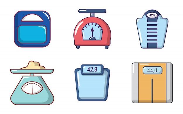 Set di icone di scale. l'insieme del fumetto delle icone di vettore delle scale ha messo isolato