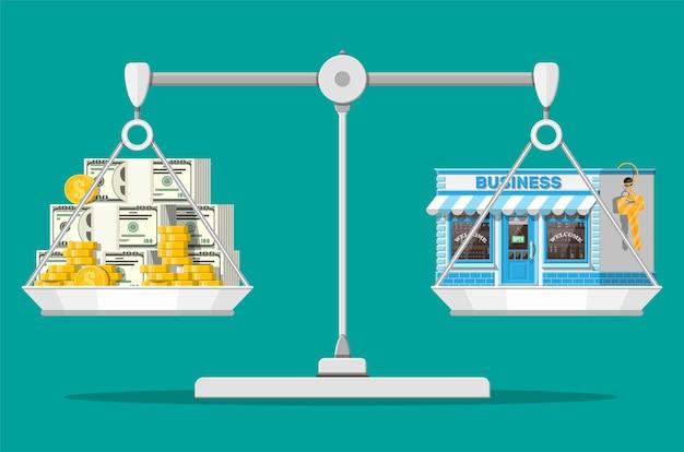 Bilancia con immobile commerciale con chiave e denaro. valutazione d'impresa. promozione di affari immobiliari, avvio. vendere o acquistare nuova attività. illustrazione vettoriale piatta