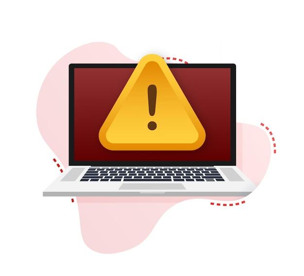 Avviso di truffa. attacco hacker e sicurezza web. sicurezza della rete e di internet. illustrazione vettoriale.