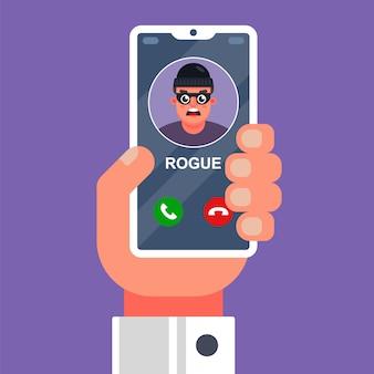 Un truffatore sta chiamando su un telefono cellulare.