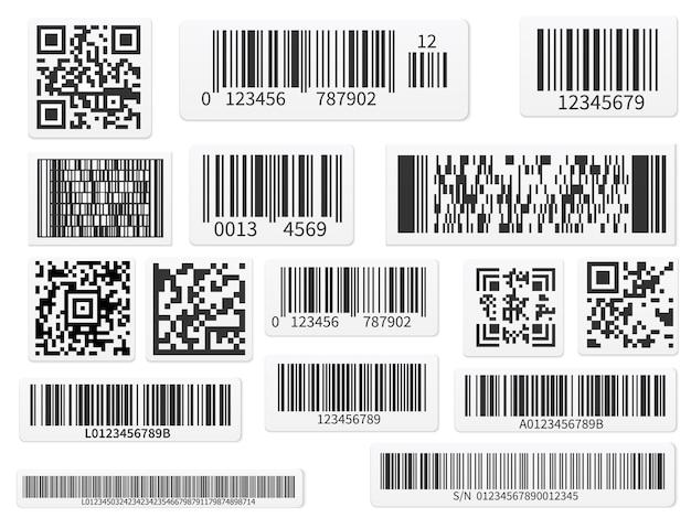 Barre dei codici di scansione e set di etichette con codici qr
