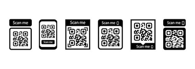 Scansionami set di icone. codice qr per il pagamento