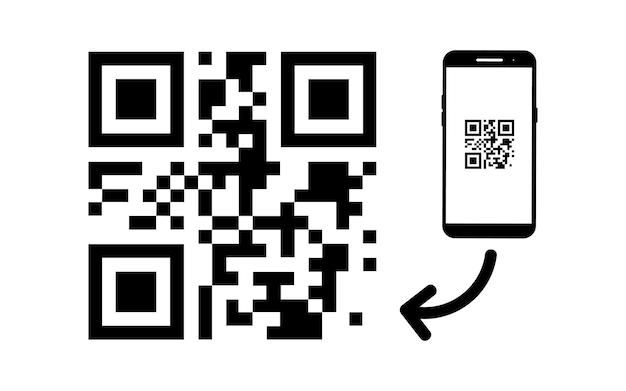 Scansiona l'icona del codice qr. esempio di codice qr vettoriale per la scansione dello smartphone. scansione del codice qr con l'icona del telefono cellulare
