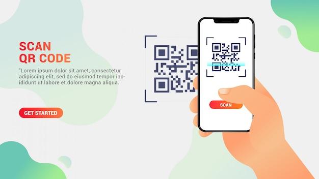 Scansione codice qr, telefono cellulare scansione di un codice qr