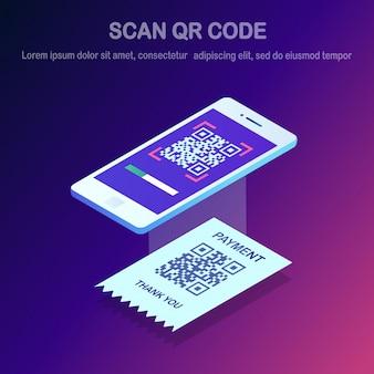 Scansiona il codice qr sul telefono. smartphone isometrico 3d, lettore di codici a barre mobile, scanner con ricevuta di pagamento. pagamento digitale elettronico con smartphone.
