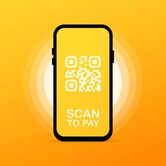 Scansiona il codice qr sul telefono o sul lettore di codici a barre mobile, scanner. pagamento digitale elettronico con smartphone.