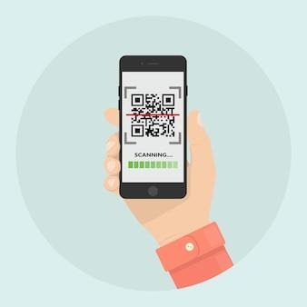 Scansiona il codice qr sul telefono. lettore di codici a barre mobile, scanner in mano. pagamento digitale elettronico con smartphone.