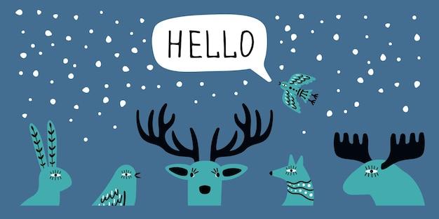 Banner invernale scandinavo. ciao poster, scarabocchiare teste di animali selvatici e uccelli, illustrazione vettoriale di nevicate