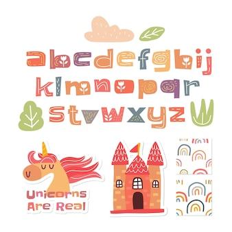 Alfabeto scandinavo e simpatica collezione colorata
