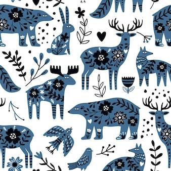 Modello senza cuciture di animali scandinavi. creature carine disegnate a mano della natura selvaggia per sfondi o poster, illustrazione vettoriale di orsi e cervi in design nordico