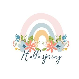 Biglietto primaverile boho scandinavo con fiori primaverili, rami fioriti, uccelli e farfalle. ottimo per poster, biglietti, inviti, volantini, striscioni, cartelloni, brochure. illustrazione vettoriale.
