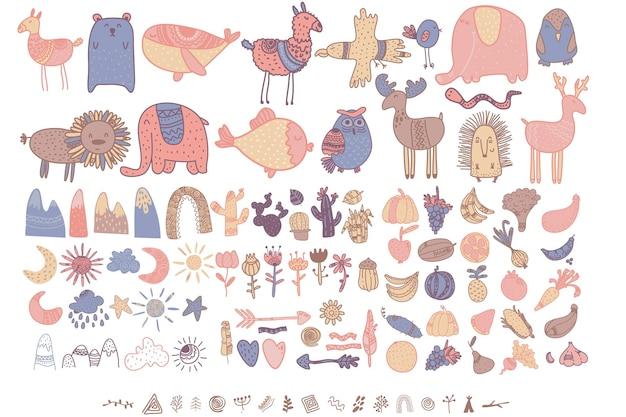 Elementi per bambini scandinavi bambini carini elementi boho animali piante