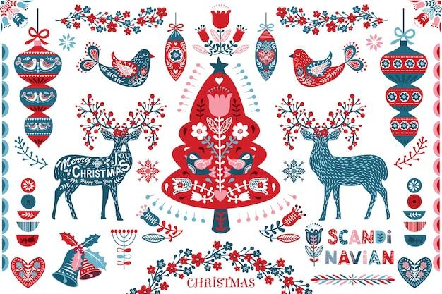 Elementi di design di arte popolare di natale scandinavo