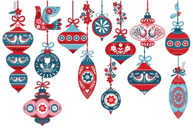 Elementi di ornamento di natale scandinavo