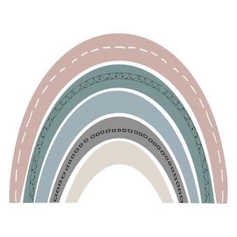 Arcobaleno carino scandinavo isolato su sfondo bianco. arcobaleno divertente del fumetto. disegno infantile per il design della scuola materna. illustrazione disegnata a mano di scarabocchio. design scandinavo.