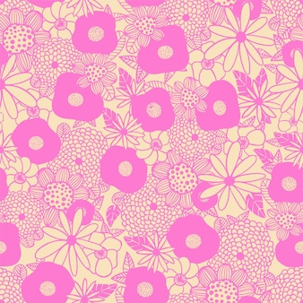 Il bouquet di fiori scandinavo delinea l'illustrazione in bianco e nero senza cuciture pattern