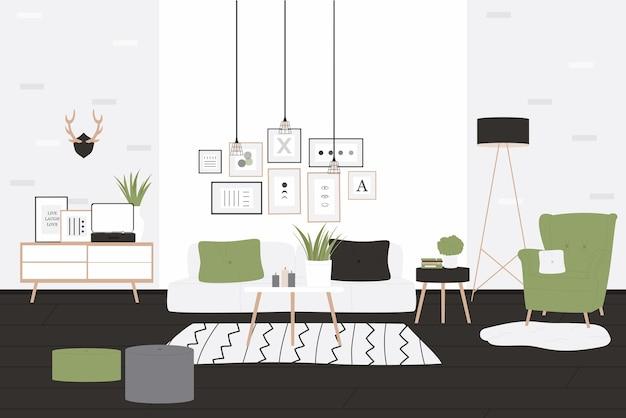 Appartamento scandinavo accogliente e moderno loft interno