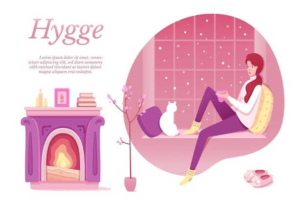 Scandinavian hygge concept design, giovane donna seduta sul davanzale della finestra con il gatto.