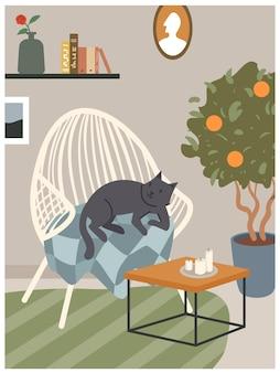 Interni accoglienti scandinavi hygge con illustrazione vettoriale di arredamento poltrona. simpatico gatto cartone animato che dorme sulla sedia di un comodo appartamento in soggiorno, pianta d'appartamento che cresce in vaso, sfondo di decorazione della casa