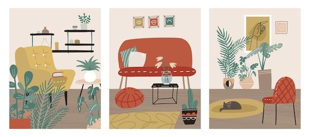 Le carte degli interni scandinavi hanno impostato la carta hygge con il poster della stanza accogliente della casa scandi con mobili carini e alla moda relax soggiorno piatto