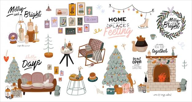 Interni scandinavi con decorazioni per la casa di dicembre. illustrazione carina e tipografia natalizia in stile hygge.