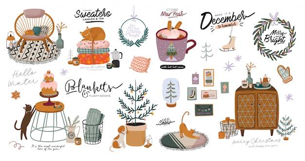 Interni scandinavi con decorazioni per la casa di dicembre: ghirlanda, gatto, albero, regalo, candele, tavolo. accogliente stagione delle vacanze invernali. illustrazione carina e tipografia natalizia in stile hygge. . .