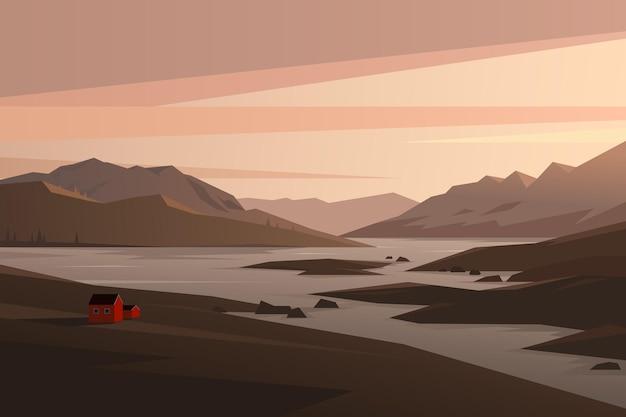 Paesaggio scandinavo casa in montagna illustrazione vettoriale cabina del fiordo norvegese al tramonto