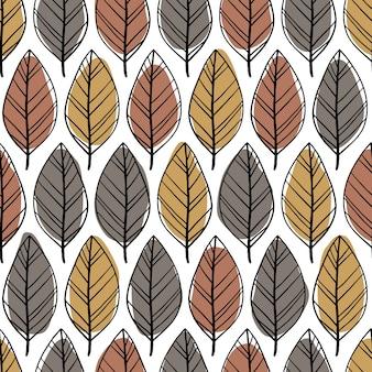 Modello senza cuciture minimalista scandinavo con foglie disegnate a mano. macchie astratte e semplici linee di doodle in una tavolozza pastello. sfondo per tessile, tessuto, involucro.