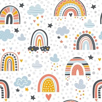 Modello arcobaleno scandinavo. forme grafiche di arcobaleno e pioggia vettore disegnato sfondo senza soluzione di continuità. illustrazione adorabile ripetizione a stelle e strisce e arcobaleno