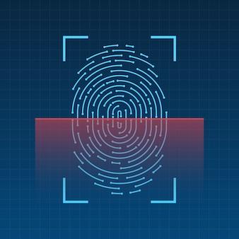 Scansione dell'impronta digitale sull'illustrazione dello schermo