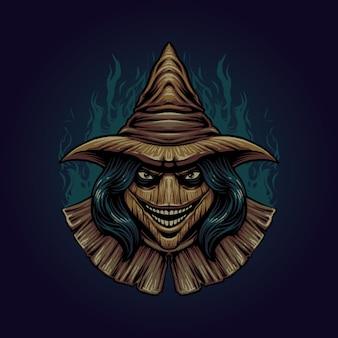 Il vettore di illustrazione della testa dello spaventapasseri
