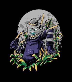 Illustrazione vettoriale di spaventapasseri killer farmer, adatta per t-shirt, abbigliamento, stampa e prodotti di merchandising