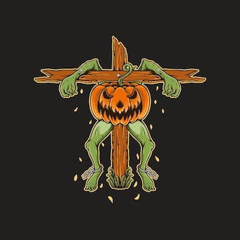 Lo spaventapasseri zucca rana halloween