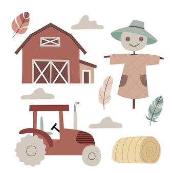 Spaventapasseri e un trattore in fattoriaagricolturaatmosfera autunnaleillustrazione per libro per bambini