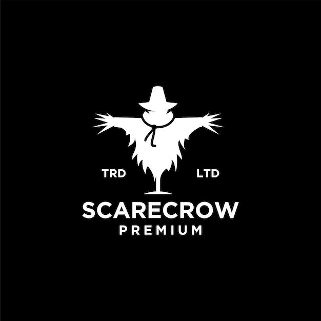Illustrazione dell'icona logo vintage spaventapasseri vettore premium