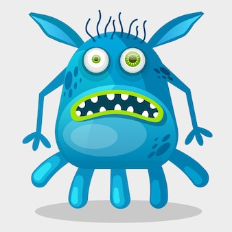 Mostro blu spaventato del fumetto. carattere immaginario. illustrazione