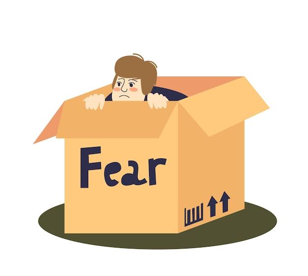Uomo spaventato del fumetto che si nasconde in una scatola di cartone
