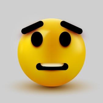 Emoji spaventato isolato su emoticon bianco, scioccato.