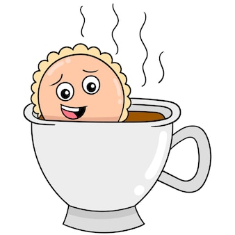 Torta di fronte spaventata in una tazza di caffè calda, arte dell'illustrazione di vettore. scarabocchiare icona immagine kawaii.