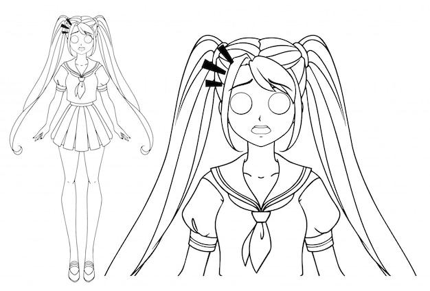 Ragazza manga spaventata con e due trecce che indossano l'uniforme scolastica giapponese. illustrazione vettoriale disegnato a mano. isolato.