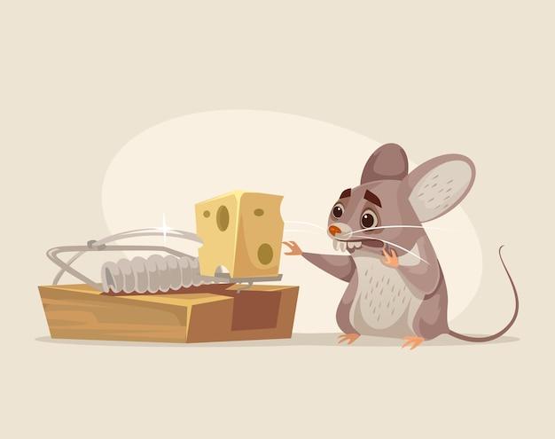 Carattere del mouse spaventato che cerca di ottenere il formaggio dalla trappola per topi, illustrazione piana del fumetto