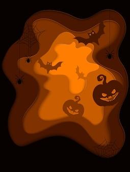 Sfondo spaventoso di halloween con zucche e pipistrelli volanti, stile di taglio alla moda