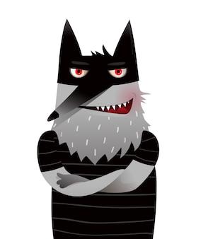 Animale selvatico lupo nero scontroso arrabbiato spaventoso per il disegno in bianco del biglietto di auguri disegno di carattere animale carino e divertente per bambini, in stile acquerello isolato su bianco.