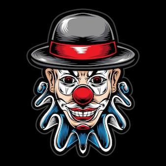 Testa di clown spaventoso