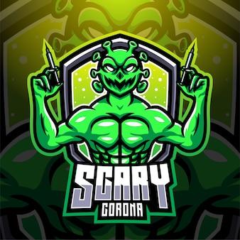 Design del logo mascotte spaventoso corona esport